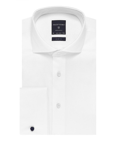 Profuomo Hemd - Two Ply - Weiß - Slim Fit - Twill - Double Cuff (1)