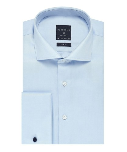Profuomo Hemd - Two Ply - Blau - Slim Fit - Twill - Double Cuff (1)